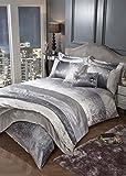 Stoffkontor - Juego de cama de terciopelo arrugado, color plateado, Filled Cushion 30 x 50 cm