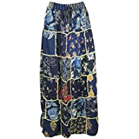 Women's Long Skirt Blue Vintage Ethnic Patchwork Rayon Maxi Skirts S/M