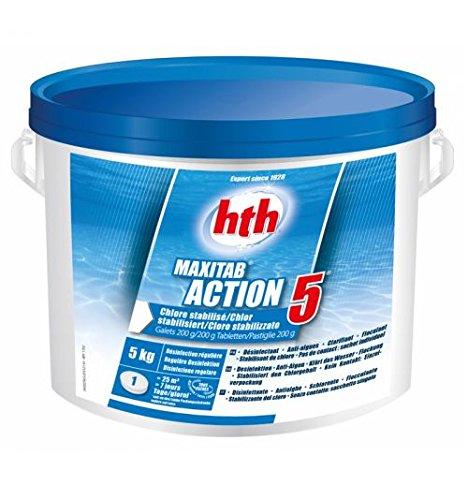Chlore multifonction piscine stabilisé 5kg (galets 200g) HTH Action 5