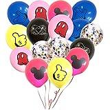 Paquete de 50 Globos de Mickey Mouse, 30 cm Suministros de Fiesta de cumpleaños para bebés Globos de látex, Globos de Confeti de Color Mickey para Mickey Mouse Decoración de Fiesta temática