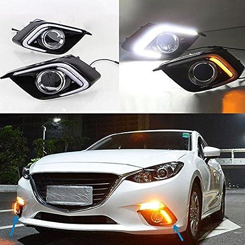 eeMrke Auto LED DRL-Blinker-Licht Tagfahrlicht Nebelscheinwerfer Schutzsatz für Mazda 3