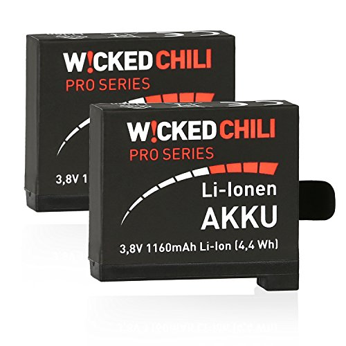 Wicked Chili 2 Stück Akku für GoPro Hero 4 Black / Silver Edition [ersetzt AHDBT-401] Li-Ion, 1160mA, 3,8V, 4,4Wh, ProSeries