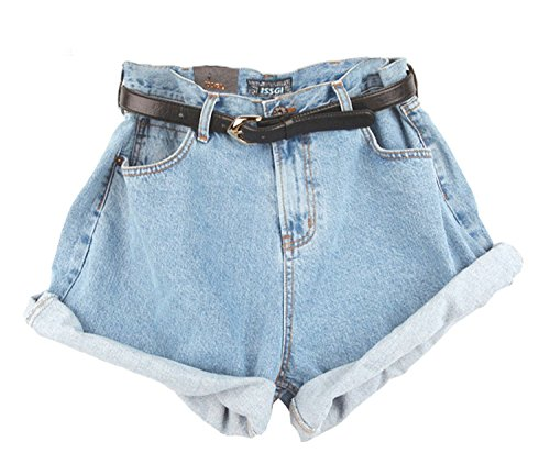 Frauen Damen Vintage Blue Ausgefranste lose lockere Baggy Shorts Boyfriend Stretch Denim Jeans Hotpants Shorts Fashion Hosen (Boyfriend Jeans-shorts)