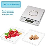 Ewolee Digital Pocket Scales - 500g x 0.01g High-precision Jewellery Scale, Food Scale, Accurate Gram and Slim Design with Platform, LCD Display, Batteries Included | 2 Trays Include
