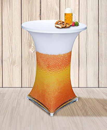 Stretch Tischhusse mit edlen Designs für Stehtisch 70-85 cm Durchmesser (Bier)