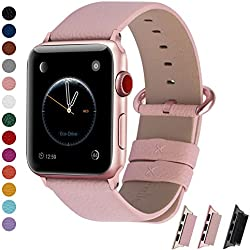 Fullmosa Correa Compatible Apple Watch 44mm 42mm 40mm 38mm, YAN 15 Colores Correa Cuero Pulsera para iWatch Series 5 4 3 2 1, Rosa + Hebilla de Rosa + Adaptador Rosa 38mm 40mm