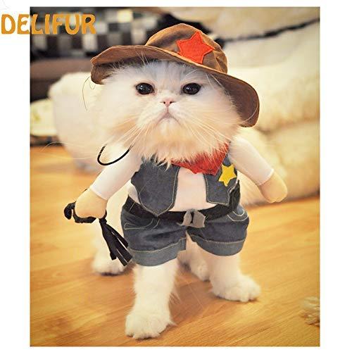 Spooky Katze Kostüm - DELIFUR Hut Cowboy Pet Kostüm mit Hund, der Kostüm Funny Pet Kleidung Halloween Spooky Night Kleidung Special Events Kostüm für Hund & Katze, L, blau