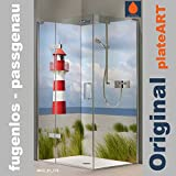 ORIGINAL plateART Eck-Duschrückwand, bis 90 x 200 cm links/rechts und 120 x 200 cm links/rechts OHNE FUGEN, Fliesenersatz, Maritim Leuchtturm Nordsee Motiv