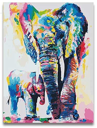 WACYDSD Aquarell Tier Samll Elefant Digitale Malerei Färbung Durch Zahlen Kinder Ölfarbe Durch Zahlen Mit Paket Für Hoom Dekor Unterstützung Anpassung
