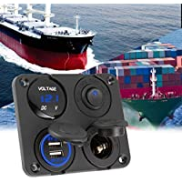 Lorenlli Puertos USB duales Cargador de automóvil + voltímetro de LED + 12-24V Toma