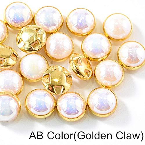 Penveat 100 pezzi perline colorate pearl cucitura per cucire strass con argento/oro artiglio natator mezzotondo perla per vasi abbigliamento b3120, oro bianco ab claw 8mm - 100pcs