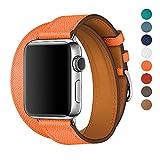 WAfeel Bracelet pour Apple Watch Bracelet 38mm pour iwatch serie3/serie2/serie1, Apple Watch Band Convexe Bracelet en Cuir Pleine Fleur avec Fermoir en Acier Inoxydable,8 Couleurs en Cuir watch band/strap - Marron (Orange)