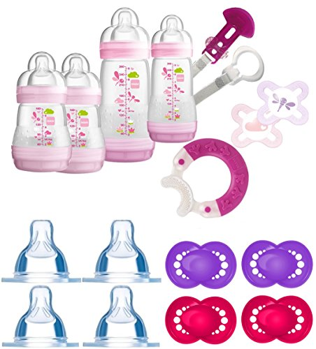 Preisvergleich Produktbild MAM Set 2 - Startset - Flaschen Sauger Schnuller 24 tlg. - Rosa