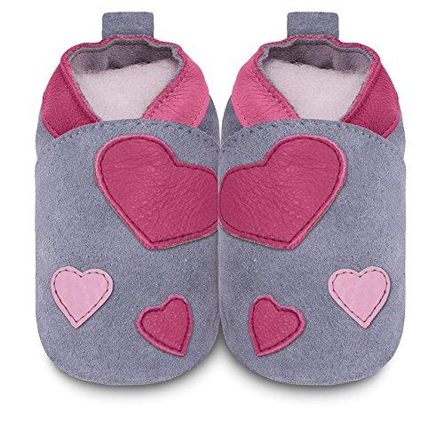 ShooShoos Love - Patucos de cuero para niña, color rosa, talla 12-18 meses