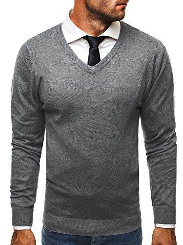 OZONEE Herren Pullover Feinstrick Sweatshirt Pulli BRUNO LEONI M008 Grau