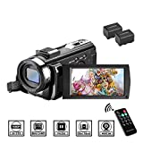 Videocámara con Control Remoto y Dos Baterías Cámara de Video Full HD 1080P 30FPS 24MP Pantalla LCD de 3 Pulgadas Rotación 270° Digital Zoom 16X Webcámara