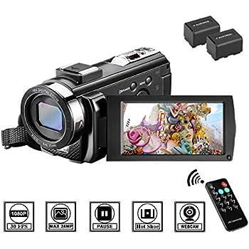 Videocámara con Control Remoto y Dos Baterías Cámara de Video Full HD 1080P 30FPS 24MP Pantalla LCD de 3 Pulgadas Rotación 270° Digital Zoom 16X ...