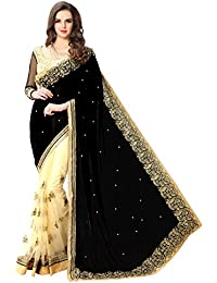 Panchratna Women's Embroidered Black And Beige Half And Half Georgette Saree With Blouse Material