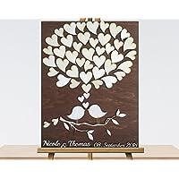 50x60 cm 3D Holz Echtholz Hochzeitsgästebuch mit Holzherzen Hochzeitsbaum Wooden Wedding Tree Gästealbum Hochzeitsalbum Gästebuch aus Holz