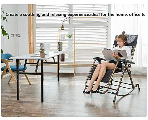IG Haushalt Dual Use Black Klapp Schaukelstuhl Heavy Duty Patio Rocker, tragbarer Stuhl für Outdoor-Garten Deck Rasen, Großeltern, Unterstützung 200Kg -