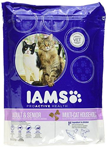 Iams Adult Multi-Cat Trockenfutter (für Haushalte mit Mehreren Erwachsenen Katzen, mit viel Huhn und Lachs, enthält viel hochwertiges tierisches Protein), 800 g
