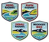 4er-Set Fluss-Radwege Abzeichen 51x 60 mm gestickt / Rad-Tour Donau-Radweg Rhein-Radweg Mosel-Radweg Bodensee-Radweg / Aufnäher Aufbügler Sticker Flicken Patch / Fahrrad-Karte Radführer Reiseführer