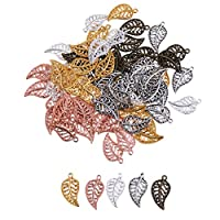 Baosity 75Pieces Vintage Hollow Filigree Leaf Charms Pendants Jewelry Findings