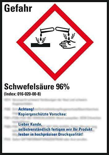 LEMAX® GHS-Etikett Schwefelsäure 96%,gem.GefStoffV/GHS/CLP,Folie,52x74mm,10/Bogen -