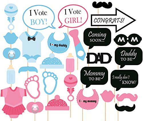 SYGA-Baby-Shower-Party-Photo-Booth-Props-Multi-Colour-Set-of-30