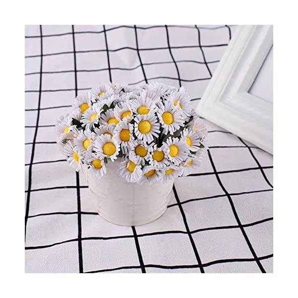 Gudotra 100pcs Flores de Artificiales Margaritas Falsa Flores Decoración Hotel Jardín Ramo de Novia Boda Cumpleaños…