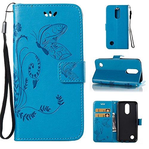 EKINHUI Case Cover Solid Color Faux Leder Bookstyle Brieftasche Stand Case mit geprägten Blumen & Lanyard & Card Slots für LG K4 2017 American Edition ( Color : White ) Blue