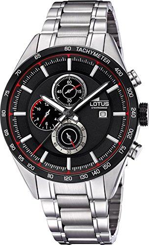 Lotus Herren-Armbanduhr Chronograph Khrono Sport mit Edelstahl-Armband silber Quarz-Uhr UL18369/4
