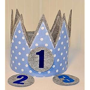 Geburtstagskrone Der Wollprinz, Krone, Kinder Geburtstag Kinderkrone Geburtstagskrone, Stoffkrone Hellblau mit den Zahlen 1,2,3,
