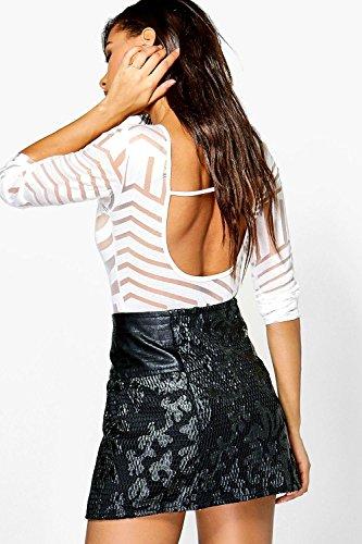 Schwarz Damen Boutique Naomi Rock mit Reißverschluss- und PU-Applikation Schwarz