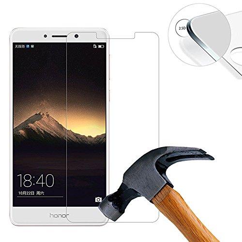 Lusee® 2 X Pack Panzerglasfolie Tempered Glass Hartglas Schutzfolie für Huawei Mate 9 Lite / Huawei Honor 6X / GR5 2017 Screen Folie Protector Ultra Hart Bildschirmschutz 0,3mm 9H clear 2.5D