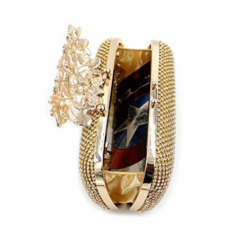 Fiore Di Lusso Sacchetto Del Pranzo Di Diamante Sacchetto Di Sera Delle Borse Delle Signore Strass Gold