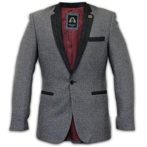 MARC-DARCY-Gilet Veste en Tweed à chevrons Patchs en velours Motif New Gris - Grey-ALFIE