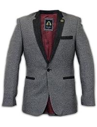 Mens Blazer MARC DARCY Coat Jacket Herringbone Tweed Velvet Patches Designer New