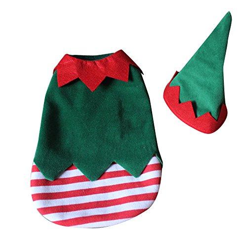 ihnachtself Clown Hund Kostüm gewelltem Streifen Weihnachts Haustier Bekleidung Hat ()