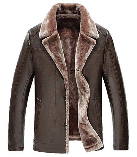 Männer Leder Pelz Dick warm Leder Jacke Revers Leder Winter Mantel Kaffee