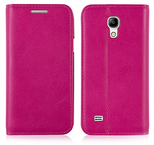 JAMMYLIZARD | Custodia in Pelle Flip Cover per Samsung Galaxy S4 Mini, Fucsia
