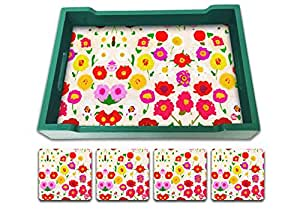 Nutcase Designer Colorful & Quirky Serving Trays With A Set Of 4 Matching Metal Coasters - Diwali Festive Gifts / Gift Ideas- Housewarming Gift - Pretty Little Flowers