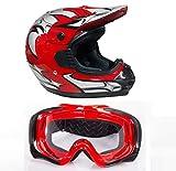 WinNet Casco OMOLOGATO per moto da cross + occhiali mascherina a scelta