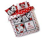 Newy Home Disney Minnie & Mickey Dotty, Set Copripiumino per San Valentino, 100% Cotone, Matrimoniale, 4 Pezzi