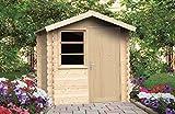 Alpholz Gerätehaus Toby aus Fichten-Holz | Gartenhaus inkl. Dachpappe | Geräteschuppen naturbelassen ohne Farbbehandlung (210 x 210cm)