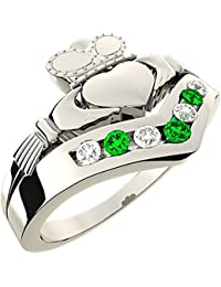 Sterling Silver Wishbone Claddagh Ring, Cubic Zirconia, Green Stones