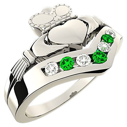 sterling-silver-wishbone-claddagh-ring-cubic-zirconia-green-stones-6