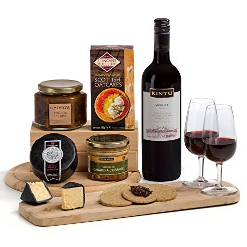 Ploughman's Lunch: Cheese, Pate and Red Wine Hamper Gift - FREE UK Delivery