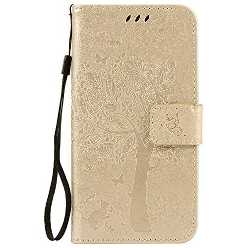 Chreey Motorola Moto G4 Play Hülle, Prägung [Katze Baum] Muster PU Leder Hülle Flip Case Wallet Cover mit Kartenschlitz Handyhülle Etui Schutztasche [Gold]