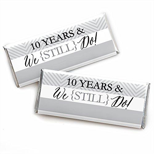 We Still Do - 10th Wedding Anniversary Party - Candy Bar Wrapper Party Favors - 24 Stück (Candy Auf Papier Dem Dot)